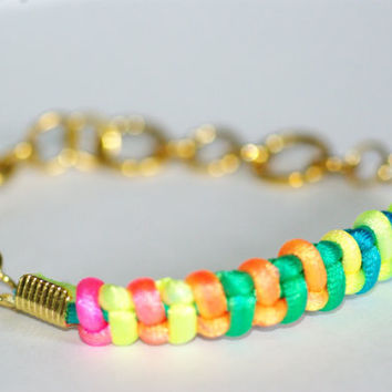Multi Colored NEON Friendship Bracelet WIth Gold Chain and Clasp