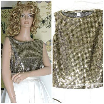 Vintage 80s gold sequins sleeveless top / size M / retro disco glam gold sequined top / camisole / SunnyBohoVintage