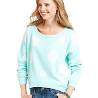Planet Gold Juniors Sweater, Long Sleeve Polka-Dot - Juniors Sweaters - Macy's