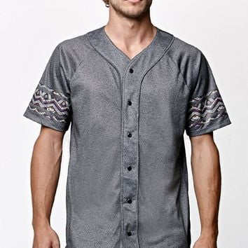 On The Byas Puzzle Mesh Baseball Jersey - Mens Tee - Gray