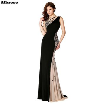 Sexy Mermaid Black Evening Dress One Long Sleeve Elegant Formal Dreses Wine Red Women Gown Chic Prom Gowns robe de soiree