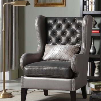 A.M.B. Furniture & Design :: Living room furniture :: Accent chairs :: Fenton 2 tone shiny faux leather and fabric flashy style tufted back wing back accent side chair with nail head trim