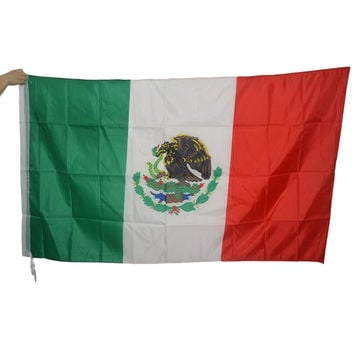 New 3x5 Feet Large Mexican Flag Polyester Mexico National Banner Indoor Outdoor Home Decor