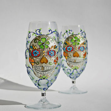 Sugar Scull Hand Painted Glass  Day of the Dead (Dia de los Muertos) Beer Juice Glasses CUSTOM ORDER for  Becky