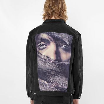 Eye Gaze Denim Jacket in Black