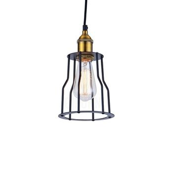 Modern Industrial Black & Gold  Matte Metal Cage Edison Filament Pendant Ceiling Light