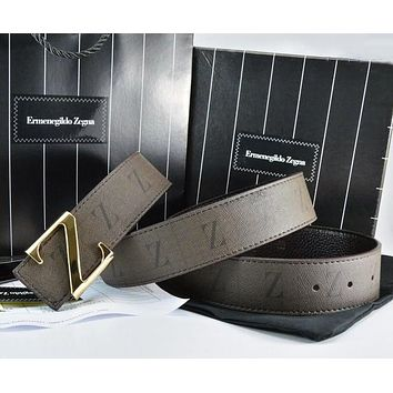 Ermenegildo Zegna Men Fashion Smooth Buckle Belt Leather Belt