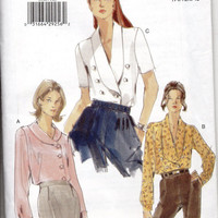 Vogue 9994 Sewing Pattern Shawl Collar Blouse Off Side Button Front Shirt Blouson Sleeve Top Double Breast Uncut FF Bust 36 to 40