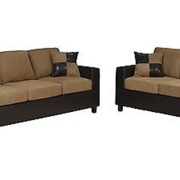 Microfiber Sofa and Loveseat 2-Piece Set Saddle Color New Free Ship