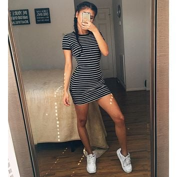 Striped Fitted Mini Shirt Dress