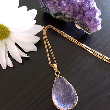 Beautiful Natural Purple Druzy stone pendant. Necklace. Electroformed gold dipped.