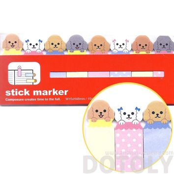 Adorable Poodle Puppy Dog Sticky Memo Post-it Index Bookmark Tabs | Animal Themed Stationery