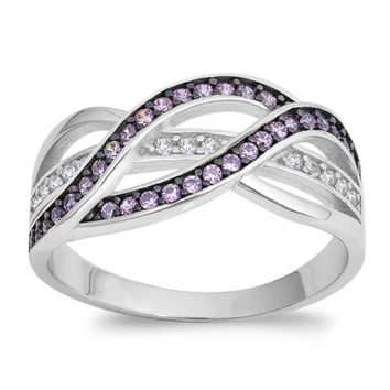 Choose Color Womens Twist Infinity Band Rhodium Plated Sterling Silver Wave Infinity Band Ring