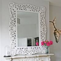 Large Distressed White Mirror, New Finds | Graham and Green Mirrors