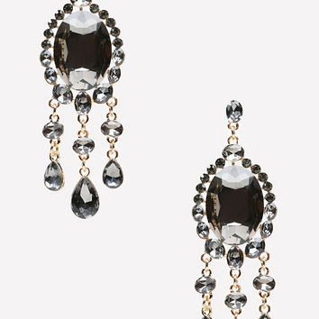 bebe Womens Fringe & Stone Earrings Gunmetal