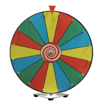 24 Inch Dry Erase Color Face Prize Wheel with Solid Wooden Pegs and Clicker