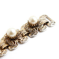 Vintage Faux Pearl Bracelet -  Gold Tone 1950s Metal Filigree Jewelry / Linked Panel Bracelet