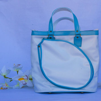 Vintage White and Turquoise Tennis Sports Bag