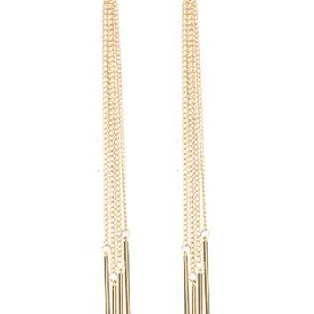 Long Chain Fringe Metal Ring Post Pin Earrings