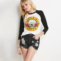 2015 New Europe Trendy Guns and roses printed color shirt long sleeved Women T-shirt