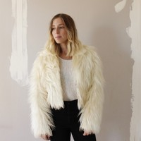 WHITE SHAG FAUX FUR CROP JACKET