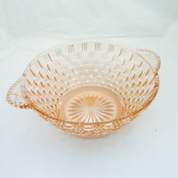 Vintage Pink Depression Glass Bowl, Pink Glass Bowl with Handles, 1940s, UK Seller