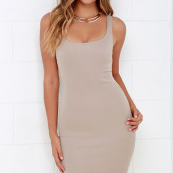Samba Step Beige Bodycon Midi Dress