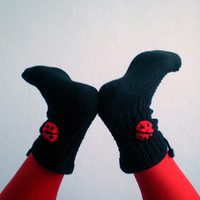 Black Slipper Socks with Ladybugs Women Slippers