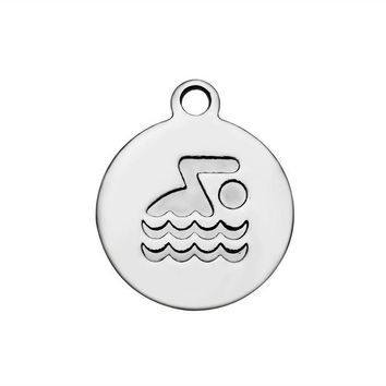 Swimming Pool beach 30pcs/Lot 316L Stainless Steel Charms Swim Bike Run Charms Pendants for Jewelry Making Bracelet Necklace DIY Accessory 12mmSwimming Pool beach KO_14_1