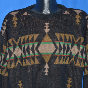 70s Pendleton Black Diamond Geometric Tribal Wool Sweater