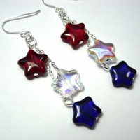 Red, white & blue stars earrings - patriotic - glass & sterling silver