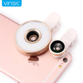Vinsic 6 in1 Multi LED Lens Clip-on Flashlight Fisheye Macro Wide angle Camera Lens for iPhone 6S 6 plus 5 and Samsung S7 S5 S6