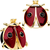 18mm Red and Black Ladybug Stainless Steel Single Flare Plug Set | Body Candy Body Jewelry