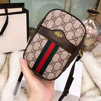 Gucci Newest Fashionable Women Shopping Bag Leather Shoulder Bag Crossbody Satchel Coffee