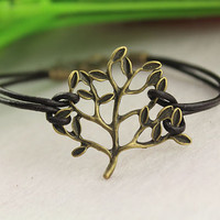 tree of life bracelet--antique bronze bracelet, small tree pedant, brown leather bracelet,alloy bracelet