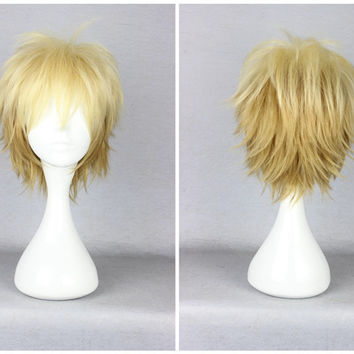 Promotion Noragami Yukine 30cm Short Male Golden Color Mixed High Quality Synthetic Party Wig,Colorful Candy Colored synthetic Hair Extension Hair piece 1pcs Beyonce's Hairstyle WIG-015B