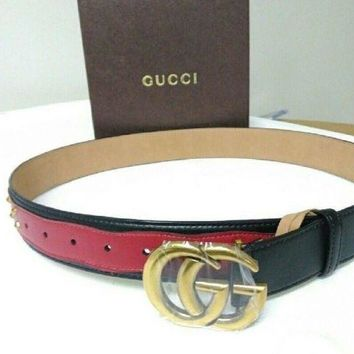 Gucci Red/Black GG buckle Studded Leather  Belt Size 90/36