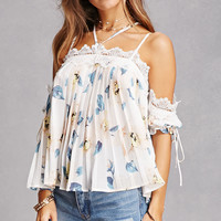 Pleated Chiffon Open-Shoulder Top