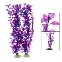 Jardin Plastic Aquarium Fish Tank Grass Plants Ornament Décor, 2-Piece, Purple