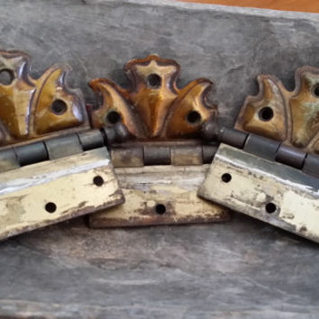 Set of 3 Heavy Brass Vintage Hinges with Patina for Furniture Restoration Project Decor Altered Art Supply