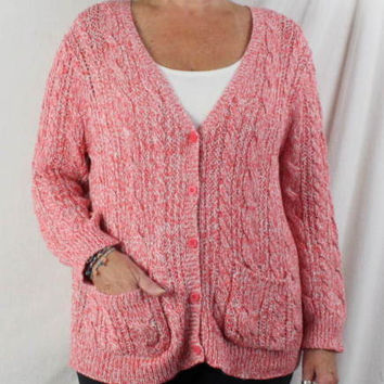 Garnet Hill Sweater L size New Pink White Flecked Vneck Cable Cardigan Pockets