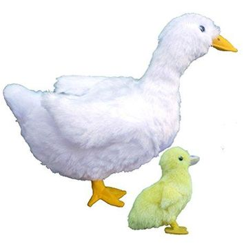 """ADORE 13"""" Standing Donna the White Duck with Baby Plush Stuffed Animal Toy"""