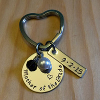 Hand Stamped Mother of the Bride Keychain - Mother of the Groom Keychain - Mother Gift -