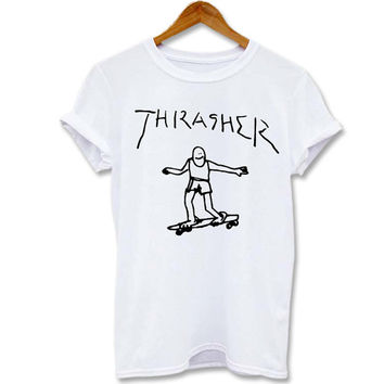 Funny shirt Screenprint T shirt Thrasher Skateboard amazing spiderman for T shirt mens, T shirt girl Size S, M, L, XL, XXL