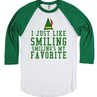 I Just Like Smiling, Smiling's My Favorite-White/Evergreen T-Shirt