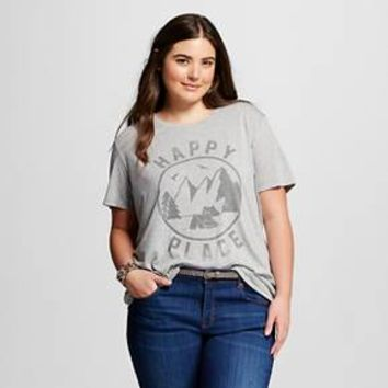 Women's Plus Happy Place Graphic Tee Heather Grey - L.O.L. Vintage : Target