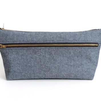 Denim Toiletry Bag Double Zipper Dopp Kit