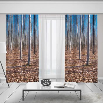 Lost In The Autumn Forest Window Curtains -Sheer or Blackout