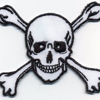 Skull and Crossbones Skull Patch Applique Iron or Sew On Patch Scary Skull Cross Bone Halloween Iron On Skull Patch Cedar Creek Patch Shop