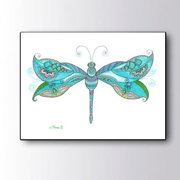 Christmas gift idea, Blue Dragonfly Drawing Canvas Print, Dragonfly Poster, Paisley art Dragonfly Painting,  Zentangle Art Boho wall decor